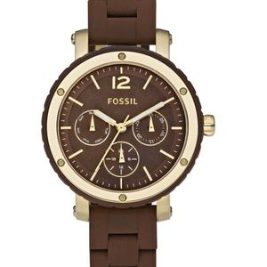 Fossil Watch Brown Gold Silicon Band